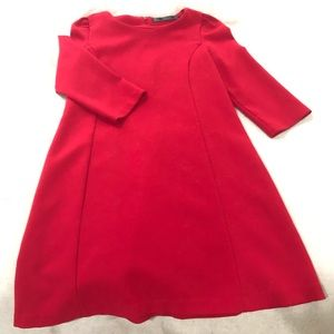 3/4 Sleeve Red Shift Dress
